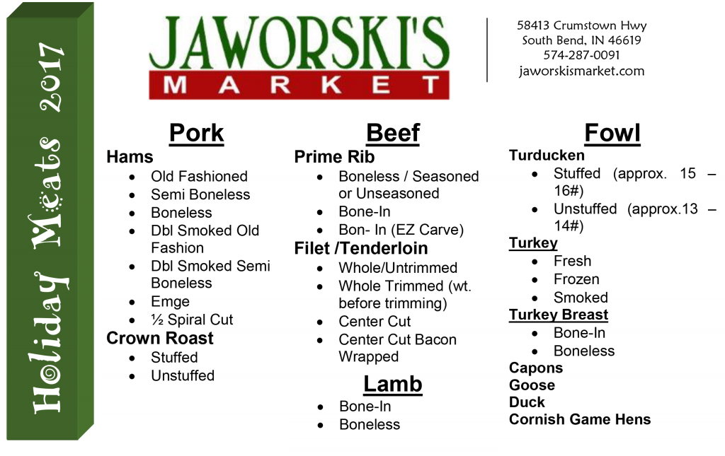 Holiday Meat Info Sheet